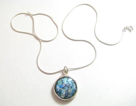 925 Silver Roman Glass Wire Pendant Necklace