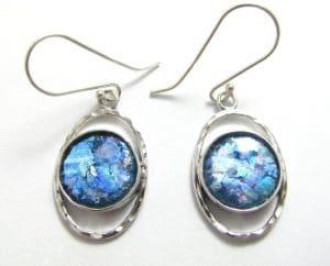 Amazing Roman Glass 925 Sterling Silver Earrings