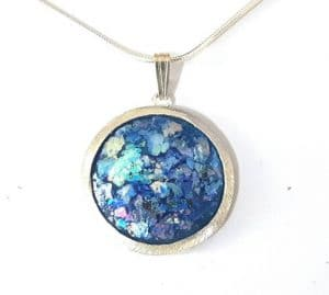 925 Silver Roman Glass Pendant Necklace