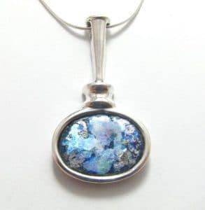 925 Sterling Silver Roman Glass Pendant Necklace