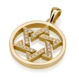 18K Gold Star of David Diamonds Circle Pendant