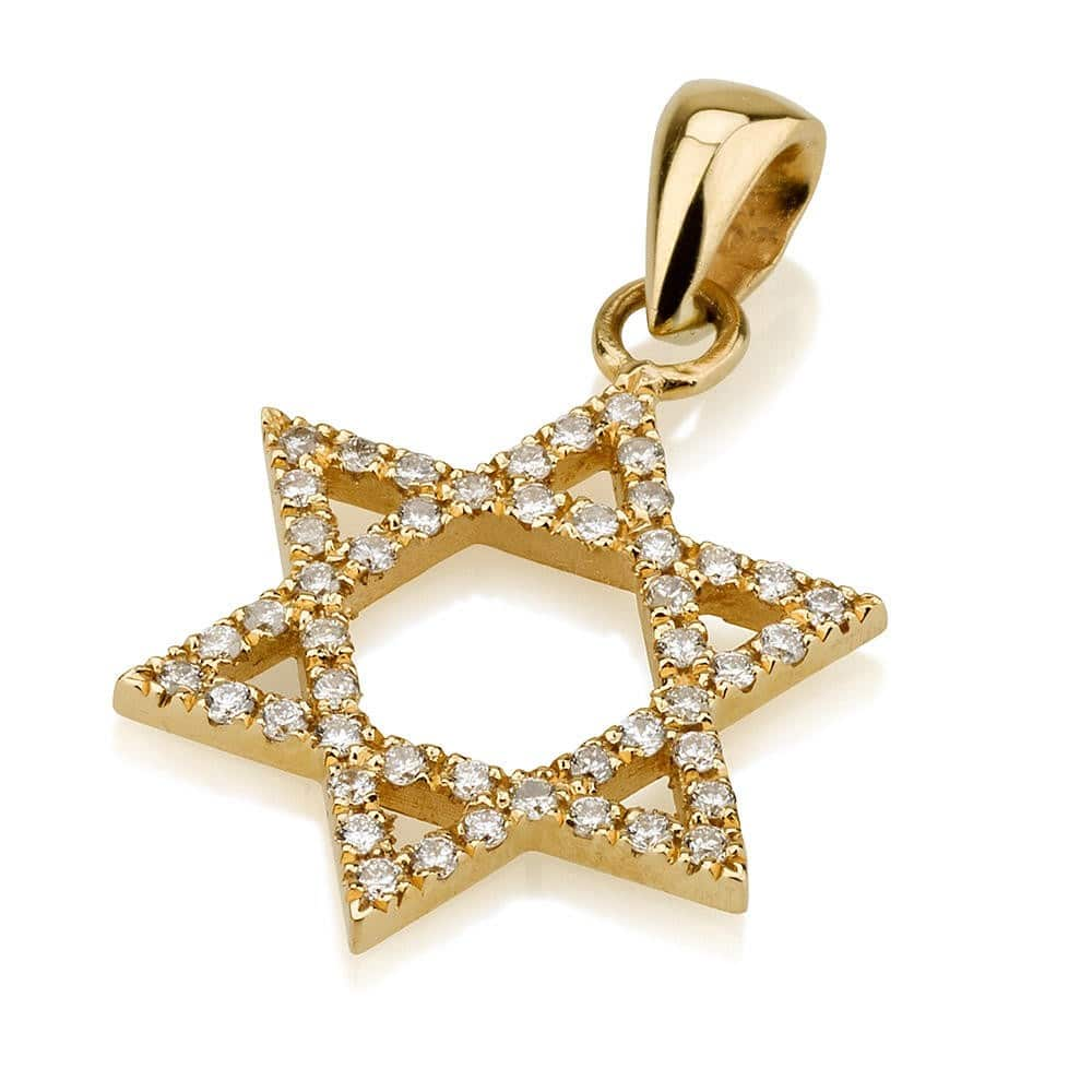 18K Gold  Star of David with Diamonds Pendant