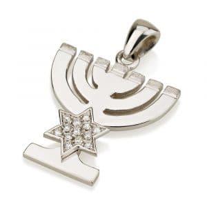 18K White Gold Menorah Pendant with Star of David