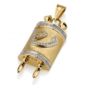 18K Gold Torah Scroll Diamond Pendant