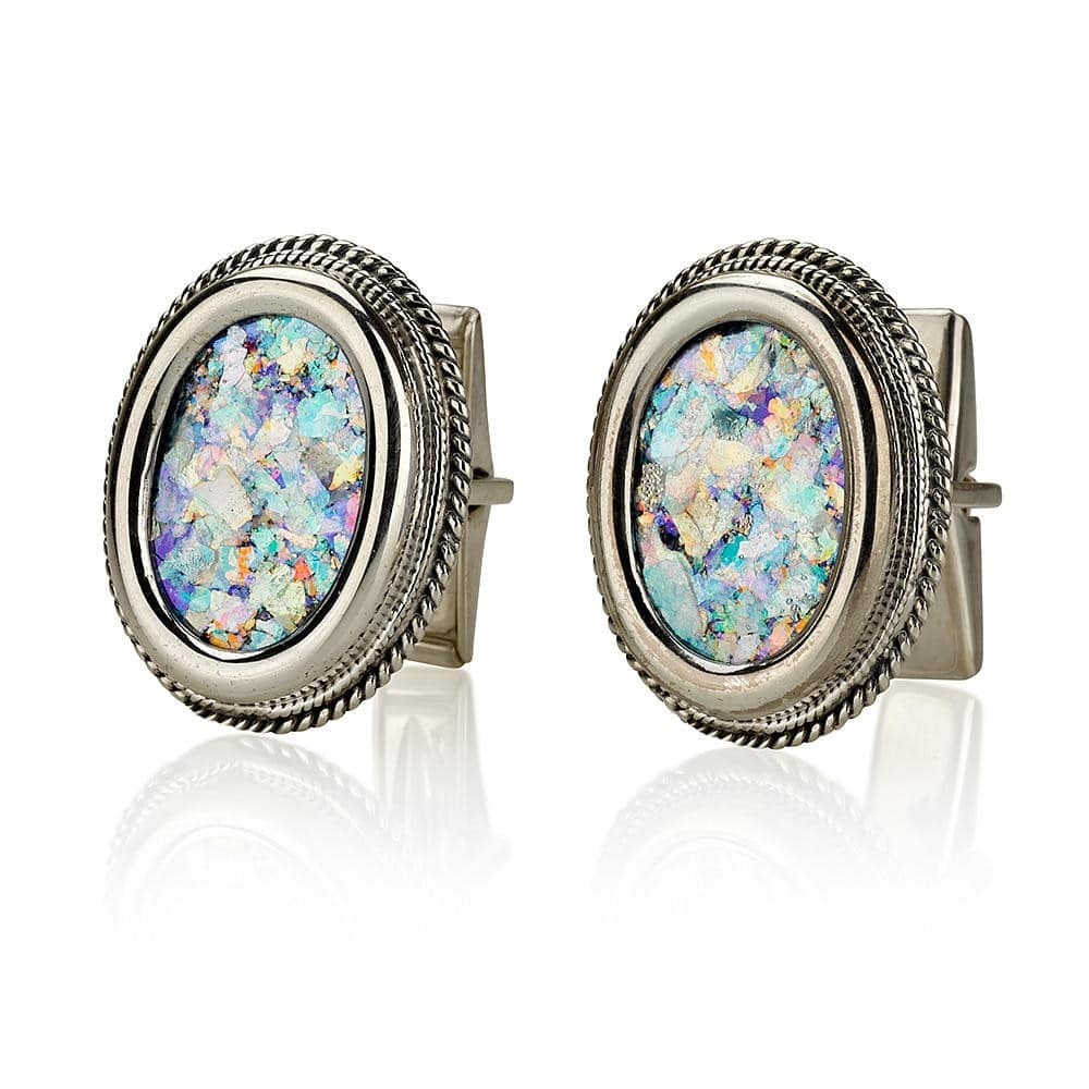 Sterling Silver and Roman Glass Cufflinks