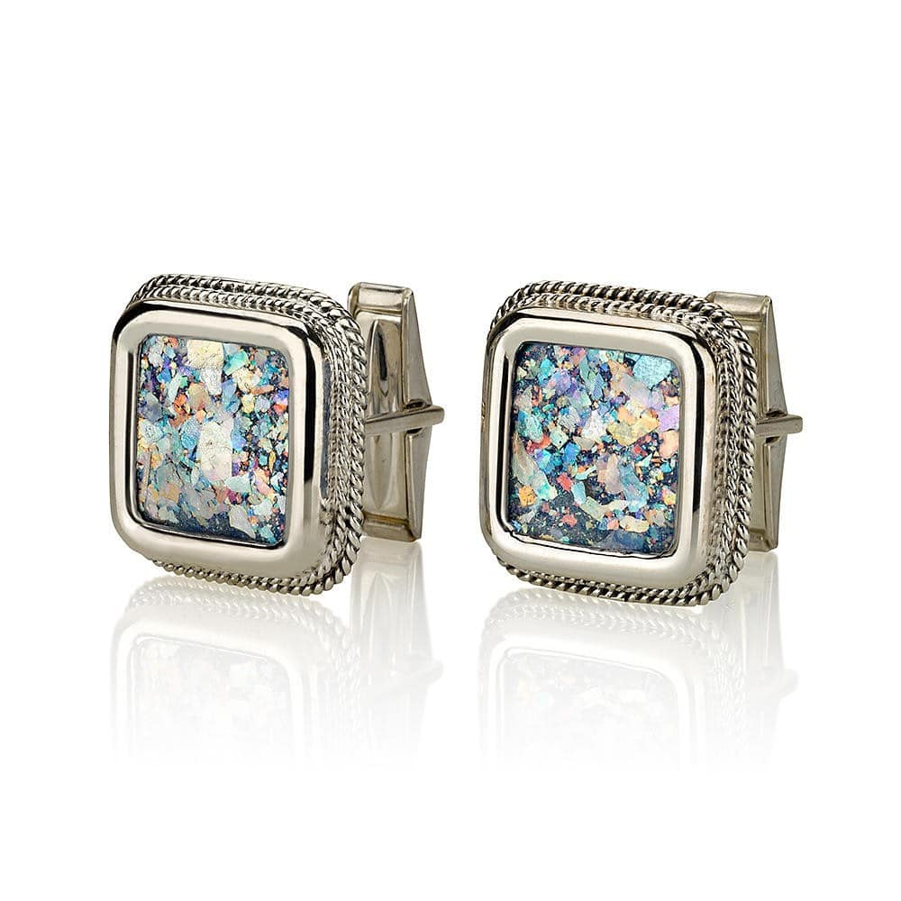 Sterling Silver  Roman Glass Square Cufflinks
