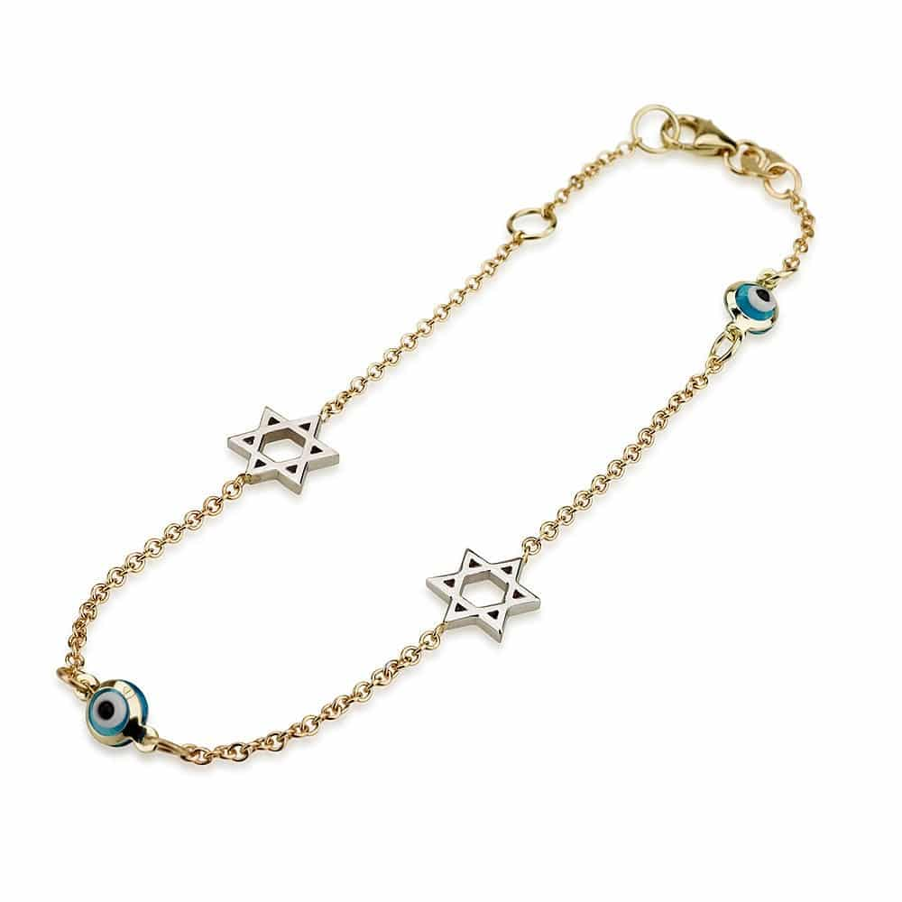 14K Gold Bracelet with Star of David  and Evil Eye Charms