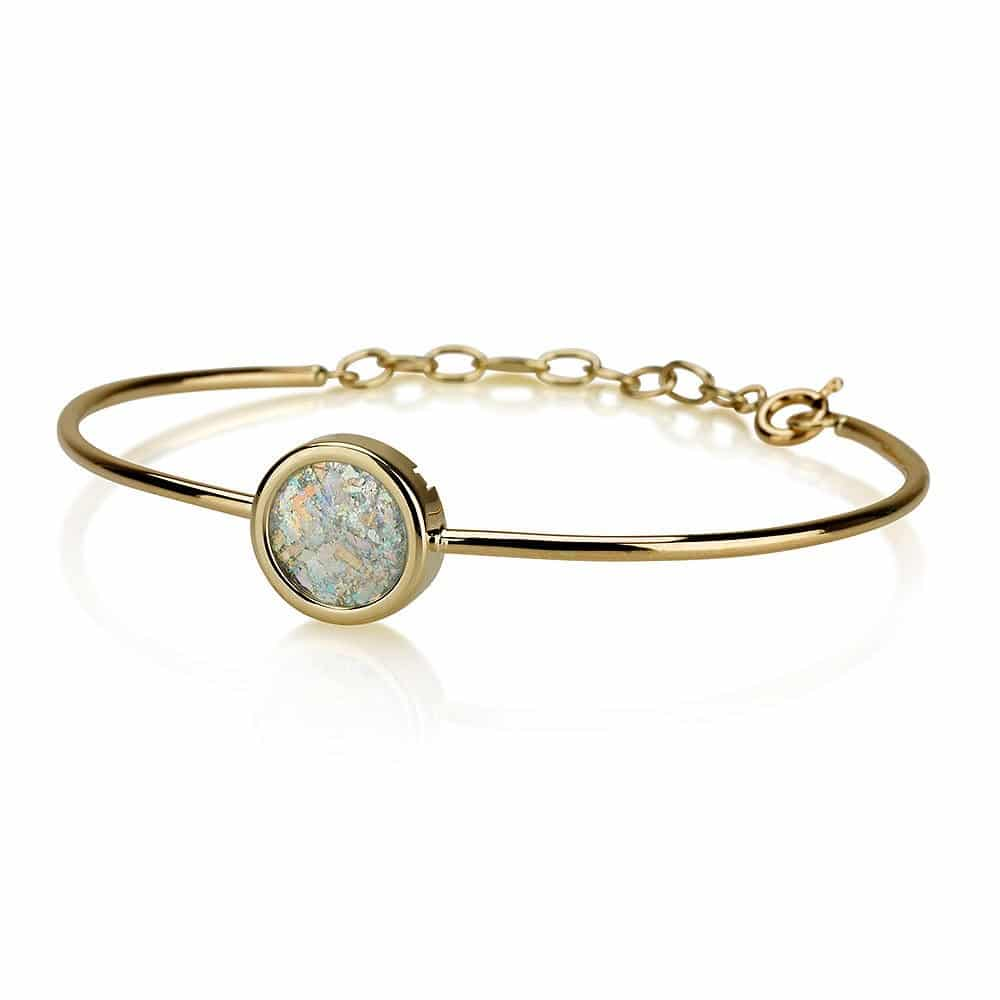 14K Bracelet with Roman Glass Pendant