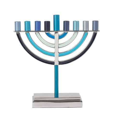 Large Classic Hanukkah Menorah - Blue