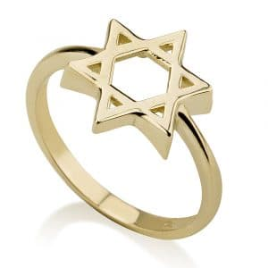 14K Gold Star of David Ring