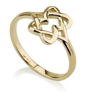 14K Gold Star of David in Heart Design Ring