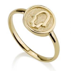 Anillo Medallón Hamsa de 14 quilates de oro