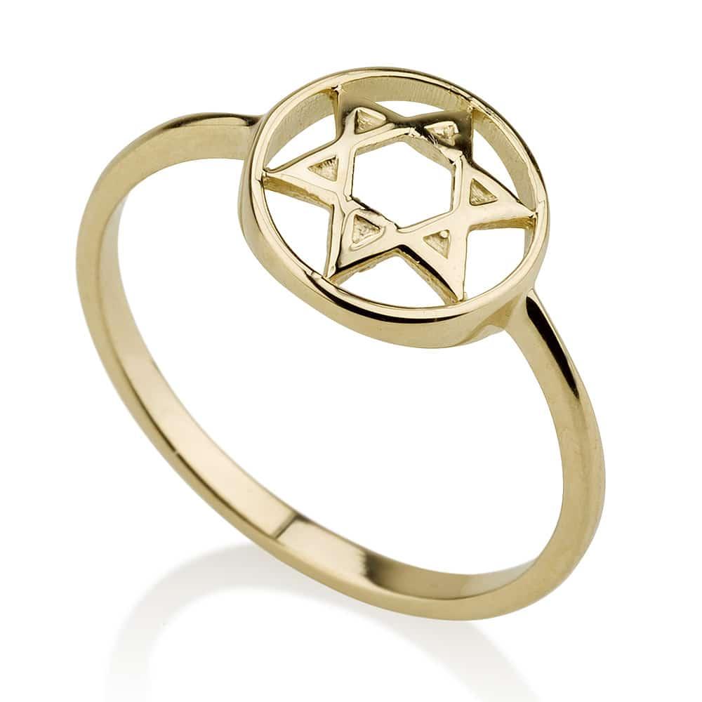 14K Yellow Gold  Star of David Circle Ring