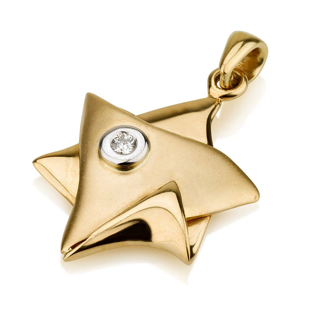 18K Gold  Star of David Pendant with Diamond