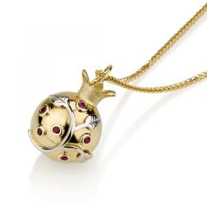 14K Yellow Gold Pomegranate Pendant with Red Ruby Gemstones and White Gold Leaves