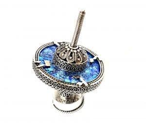 Roman Glass 925 Sterling Silver Hanukkah Dreidel