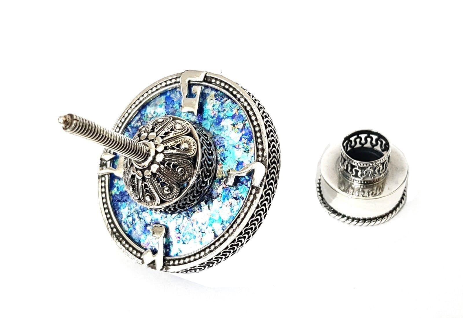 925 Sterling Silver Hanukkah Dreidel Artisan Filigree Roman Glass