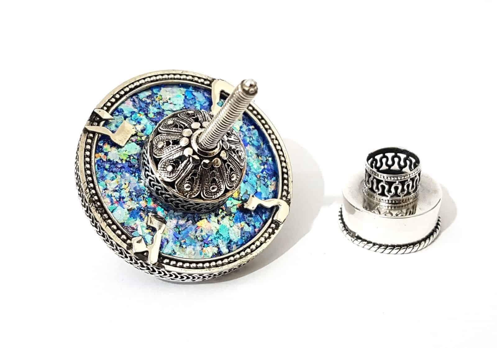 Plata esterlina 925 Hanukkah Dreidel Artesanal filigrana de cristal romano