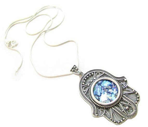 925 Sterling Silver Roman Glass Filigree Hamsa Pendant Necklace