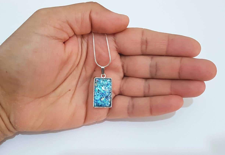 925 Silver Roman Glass Pendant Necklace