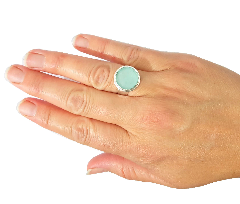 Anillo de Vidrio Romano Azulado de Plata 925, anillo ajustable
