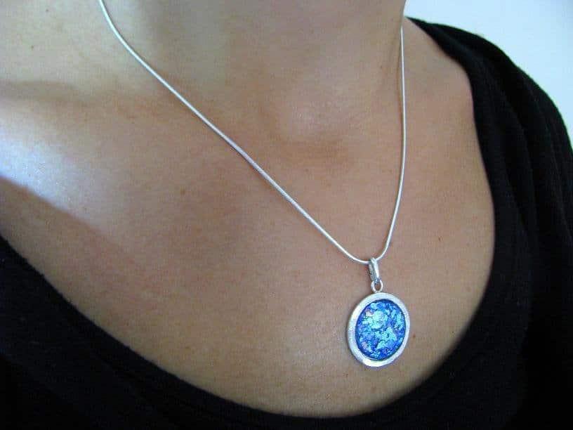 925 Silver Roman Glass Set Pendant Necklace Earrings