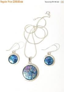 925 Silver Roman Glass Set Pendant Necklace Earrings