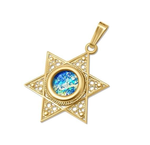 14K Gold Star of David Roman Glass Necklace