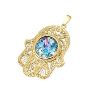 14k Gold Yemenite Hamsa Pendant with Roman Glass