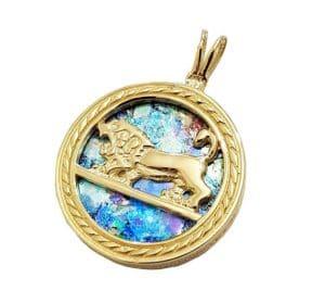 14k Gold Jerusalem Lion of Judah Roman Glass Pendant Necklace