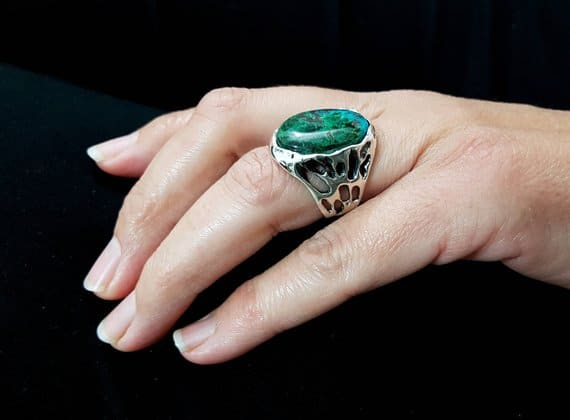 King Solomon with Eilat Stone 925 Sterling Silver Ring
