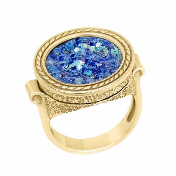 14K Gold Unisex Ancient Roman Glass ring