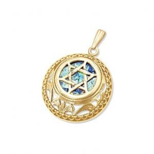 14k Gold Roman Glass Star of David Necklace