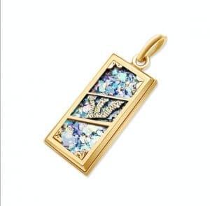 14k Gold Roman Glass Mezuzah Necklace