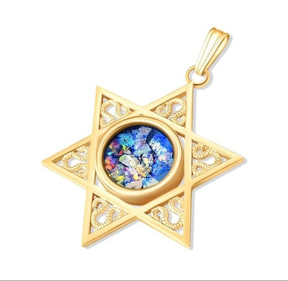 14K Gold Star of David Necklace with Roman Glass