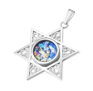 14K White Gold Star of David Roman Glass  Necklace