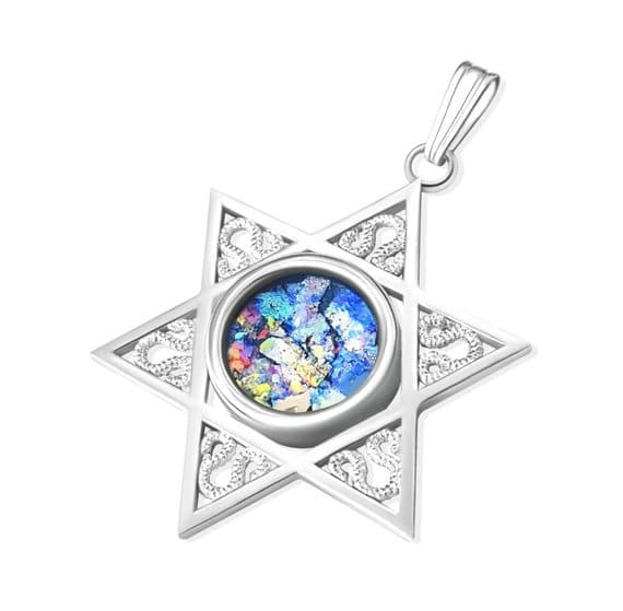 14K White Gold Roman Glass  Star of David Pendant