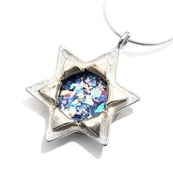925 silver Star of David Roman Glass Pendant Necklace