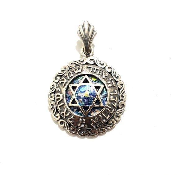 Colgante de Cristal Romano Shema Israel, Colgante Maguen David, Estrella de David, Plata Judaica, Colgante Maguen David de Cristal Romano, Colgante Isrealí