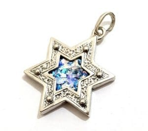 925 silver Star of David Pendant with Roman Glass