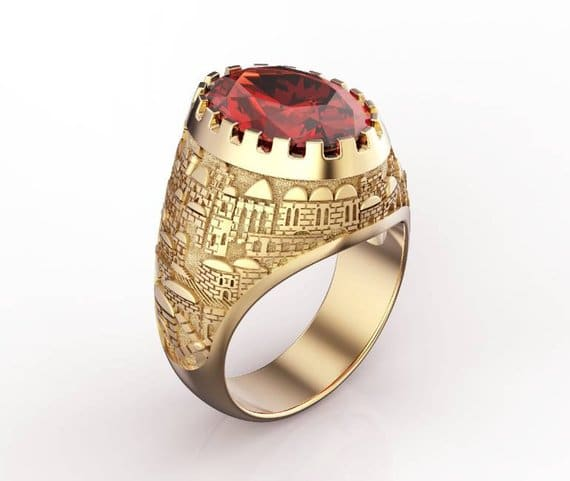 14k Yellow Gold 3D Jerusalem Ring