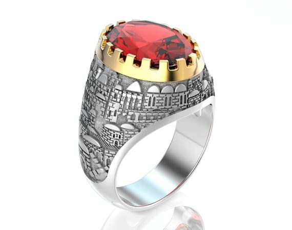 14k White Gold 3D Jerusalem Ring with Red Garnet Stone