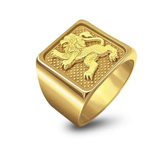 Anillo del León de Judá en Oro de 14k, Anillo de Hombre, Anillo de León