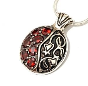 925 SIlver Pomegranate Judaica Pendant Necklace set with Red Garnets Stones,Pomegranate Pendant