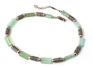 Collar de Llantas de Cristal Romano y Filigrana de Plata 925 Mezcla de Verde Azulado