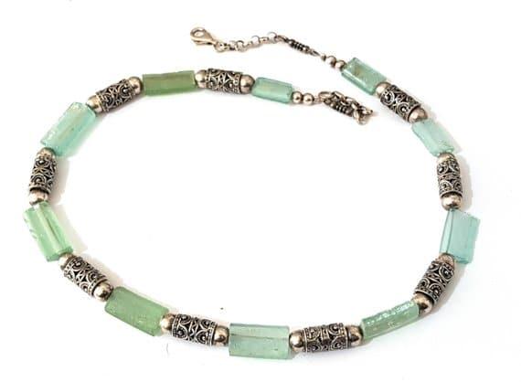 Mixed Green Bluish 925 Silver Filigree Roman Glass Rims Necklace