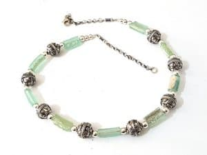 Mixed Green Bluish 925 Silver Filigree Roman Glass Rims Necklace