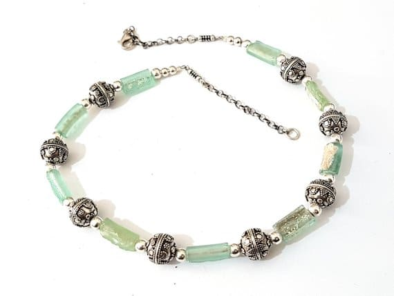 Mixed Green Bluish 925 Silver with Roman Glass Rims Necklace
