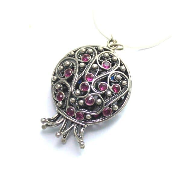 Silver Pomegranate Necklace Garnets Filigree
