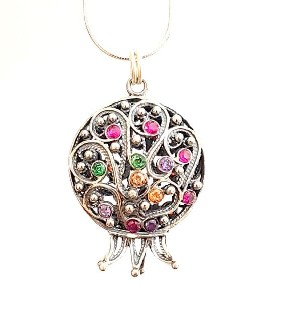 Two sides 925 Silver Garnets Filigree Pomegranate Judaica Pendant Necklace ,Pomegranate Pendant